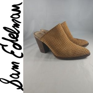 Sam Edelman BATES Mules Heels Perforated leather 8
